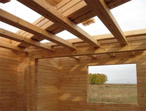 Сечение деревянной балки перекрытия крепеж деревянных балок .
